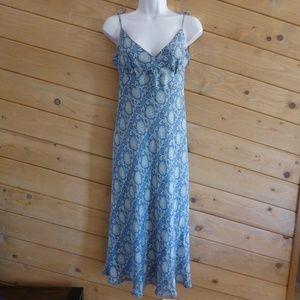 J.Crew Blue Floral Tie Shoulder Strap Silk Dress